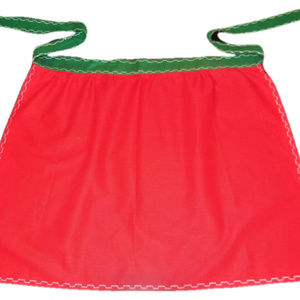 Vintage Apron Cotton Red Green
